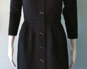 Chic Vintage 1950's Black Kimberly Wool Wiggle Dress