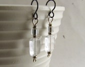 RESERVED – Silver and clear glass bead earrings, hypo-allergenic niobium ear wires