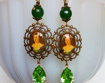 SALE // Miss Absinthe // Vintage Cameo & Jeweled Earrings, Vintage Victorian Lady Cameos, 1950s Peridot Crystals, Green Agate Gems, Brass