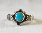 VINTAGE STERLING SILVER Turquoise Flower Ring Hallmarked Sterling Silver Ring Turquoise Flower Ring Size 5 Southwestern Style Flower Ring