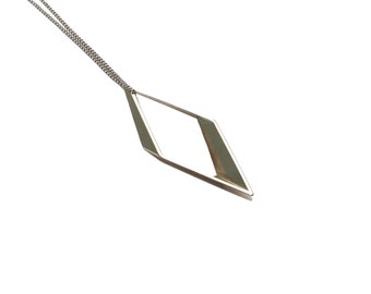 XLarge Rhombus Necklace - Modern Pendant - Silver Necklace - Minimal Geometric Necklace - Long Chain