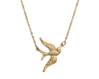 Golden Swallow bird necklace - Flying Bird necklace with Gold textured wings