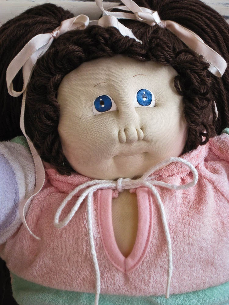 Vintage 1985 Cabbage Patch Kid Ella Shirley Dark Brown Hair