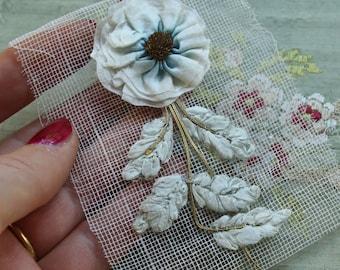 Fabulous antique silk millinery ribbonwork flower 1900's metal flapper hat trim ombre aqua