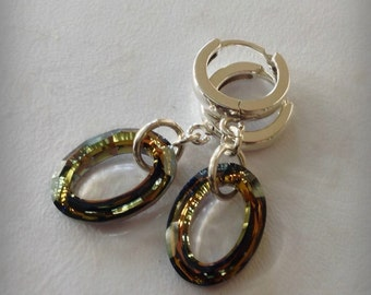 Sterling Hoops with Swarovski Tabac Crystal Ovals