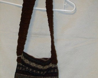 Upcycled Felted Wool Sweater Bag/Purse