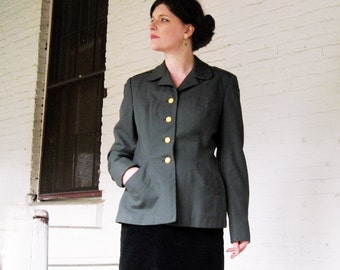 Vintage Military blazer olive green jacket womens military CHIC W.B. co eagle buttons