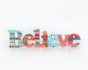 Wooden Word Believe Sign, Word art, Inspirational Word Signs, Home Decor. Wall Decor, Photo Prop