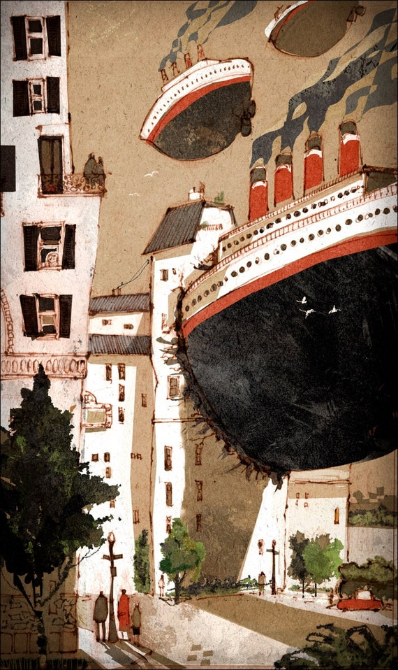 Steam boat crashing into building. Illustration / art print / watercolor painting / wall art. By Lee White.