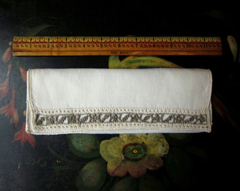 Vintage Linen Napkin, Ivory Linen, Open Cut Work Stitching with Leaf Patterns at One Edge, Hand Hemmed