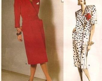 1980s Guy Laroche Vogue Paris Original Vogue 1684 Double Breasted Dress Vogue 1684 Size 10 Bust 32.5 Women's Vintage Sewing Pattern