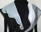 Black Silk Scarf. Grey Hand Painted Silk Shawl. Silk Scarf NIGHT CHIC, in 3 SIZES. Birthday Gift Bridesmaid Gift. Gift-Wrapped.