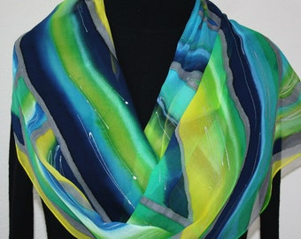 Silk Scarf Hand Painted Blue Green Yellow Hand Dyed Chiffon Silk Shawl SPRING MORNING ExtraLong 11x90 Birthday Gift Scarf Gift Wrapped Scarf