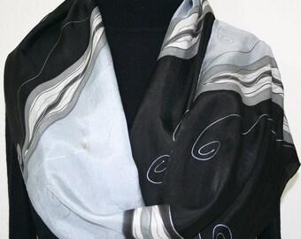 Black Silk Scarf Hand Painted Silk Scarf Black Silver Grey White Handmade Silk Scarf BLACK NIGHT 11x60 Birthday Gift Silk Scarf Gift-Wrapped
