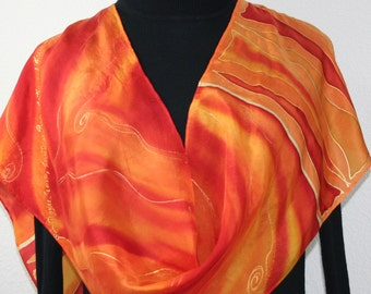 Silk Scarf Hand Painted Silk Shawl Orange Red Hand Dyed Silk Scarf EASTERN LOVE Size 11x60 Birthday Gift Scarf Gift-Wrapped Silk Scarf