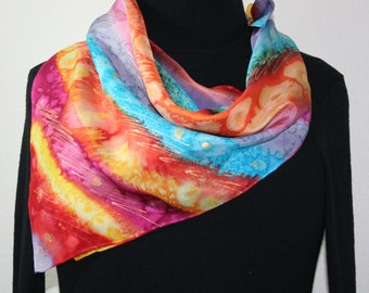 Silk Scarf Hand Painted Silk Shawl Turquoise Red Lavender Silk Scarf GYPSY RAINBOW2 Square 30x30 Birthday Gift Free Gift-Wrapping