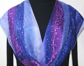 Silk Scarf Hand Painted in Lavender, Purple, Blue PURPLE SNOW, in 2 SIZES. Hand Dyed Scarf. Anniversary Gift, Birthday Gift