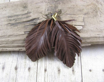 Bullet Jewelry, Feather Jewelry, Leather Feather, Leather Feather Earrings, Brown Earrings, Boho, Bullet shell earrings, Recycled earrings