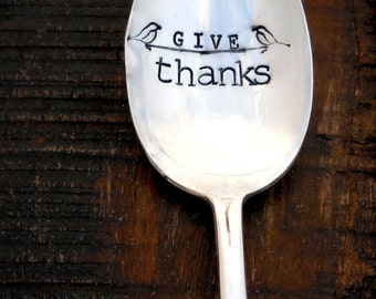 Give Thanks. Stamped Serving Spoon. Unique Southern Hospitality. CUSTOM SERVING SPOON. Holiday Table. Thanksgiving Day Tabletop. Large Spoon