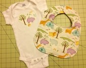 Sweet Hippo Safari Onesie and Bib set, 6-9 months
