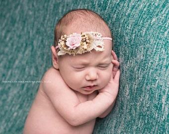 pink flower headband, skinny headband, bridal headband,newborn headband, photo prop, any size,lace headband