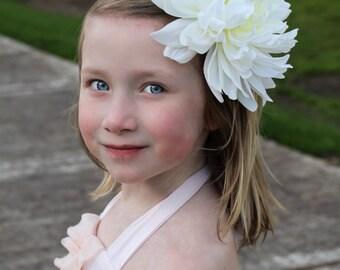white flower clip, or white flower headband, large flower clip, large flower headband,flower headband,flower girl,photo prop