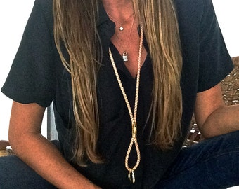 Necklace lanyard keychain leather braided natural detachable