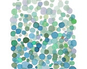 Art print watercolor Bubbles blue green dots watercolor painting watercolor print abstract painting lucite green