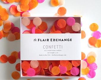 Wedding Confetti Hand-Cut Confetti - Bright : Hot Pink, Orange, Peach, Tangerine