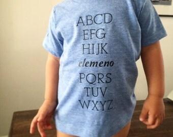 ABC Alphabet  Blue tshirt - Super soft Baby Toddler Kids children Witty Tshirt