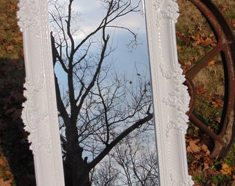 Shabby Chic Ornate Larger Wall Mirror, SHOWN in White Gloss, Hollywood Glam , French Country, Nursery, Size 36x  21