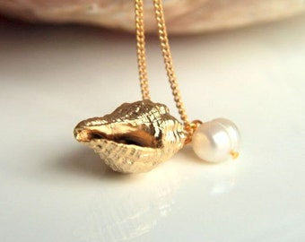 Sea Shell Sea Snail Necklace personalized Gold plated brass with culture pearl, wedding bridesmaid brass highfashion forher christmas xmas