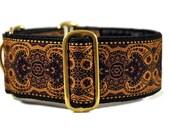 Martingale Collar: Purple and Gold Jacquard - 2 Inch - Greyhound Collar, Whippet Collar, Great Dane Collar, Saluki Collar, Custom Dog Collar