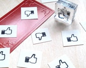 Like or Dislike Rubber Stamp - Thumbs up down Mounted Accent