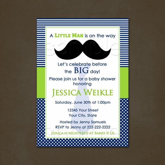 Little Man Baby Shower Invitations, Printable File, Mustache Invitation, Mustache Baby Shower, Blue and Green, Boy Baby Shower