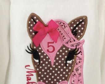 HORSE Applique with Name choose any fabrics to you're liking