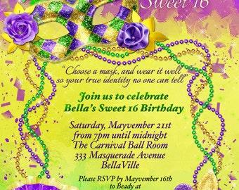 Masquerade Invitation, Mardi Gras Invitation, Masquerade Party, Masquerade Invitation, Mardi Gras Party, Masked Ball