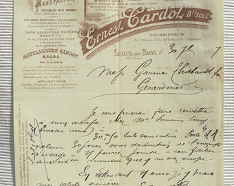 Antique French Business Letterhead from 1897 - Ernesl Cardol, Luxeuil-les-Bains (Brush Mfrs.)