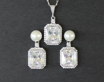 Square Crystal Bridal Jewelry Set, Wedding Jewlery Set, Princess Cut Crystal Set, Wedding Jewellery, Bridal Jewellery