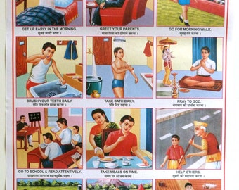 Retro Indian School Posters - IDEAL BOY - Old fashioned paper - Educational poster
