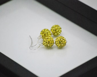 Yellow Earrings, Pave Rhinestone, Bright Yellow, Bling Bling Earrings, Crystal Earrings, Yellow Rhinestone Earrings, Yellow Drop Earrings