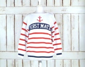 Vintage 90s red/white/blue striped nautical pullover sweater/First Mate/white woven knit anchor sweater