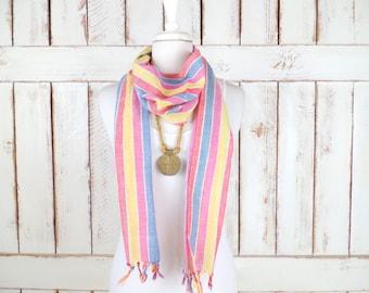 Vintage red/yellow /blue striped sheer gauzy cotton long fringe scarf/boho cloth tie sash belt/scarf belt