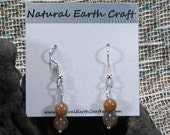 Taupe sunstone earrings coral pink peach brown moonstone semiprecious stone jewelry gemstone jewelry packaged in a gift bag 2672 A B