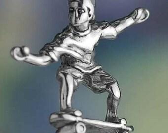 Sterling Silver Skater Charm on a Skateboard Skate Deck 3D Solid .925