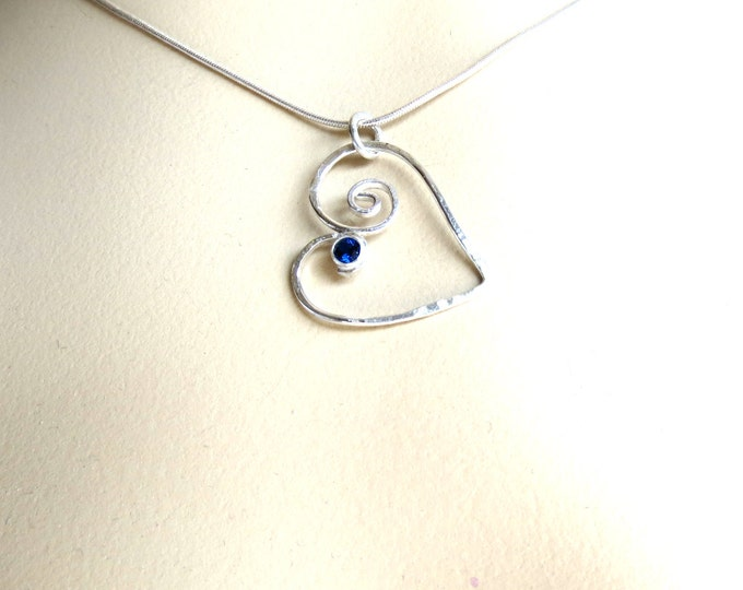 Heart, Drop Pendant, Blue Sapphire CZ, Necklace, Silver Necklace, Minimalist, Delicate, Jewelry Handmade, Gift Idea for Her