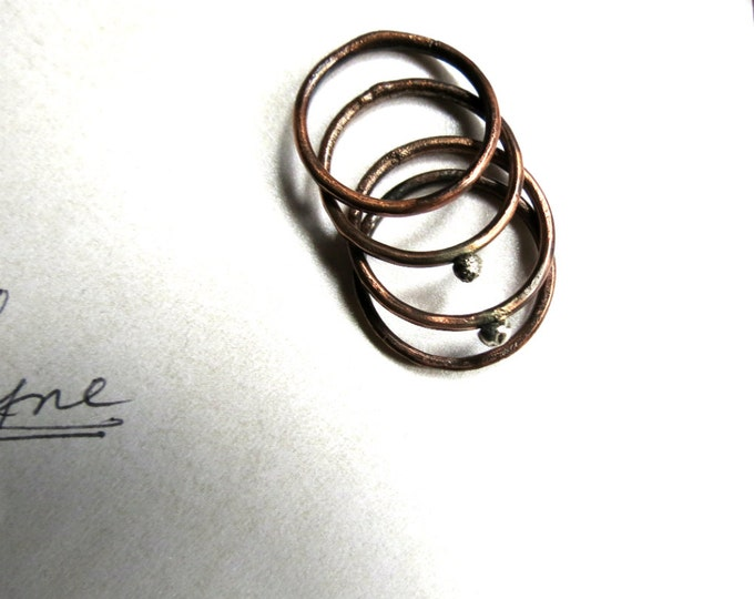 Stacking Rings, Set of Four, Rustic, Dots, Thin Rings, Wide Ring, Copper Ring, Handmade, Rustic Wedding, Gift Idea,
