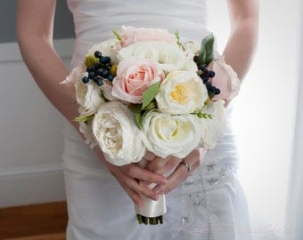 Ivory and Blush Pink Rose Garden Wedding Bouquet
