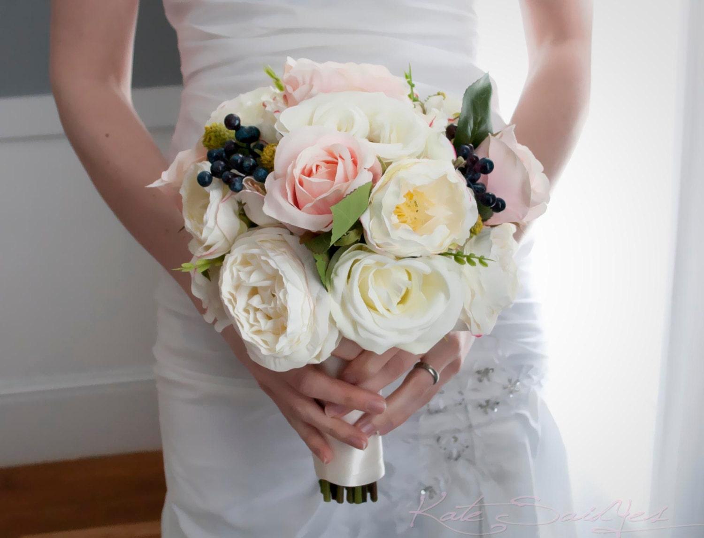 Ivory And Blush Pink Rose Garden Wedding Bouquet