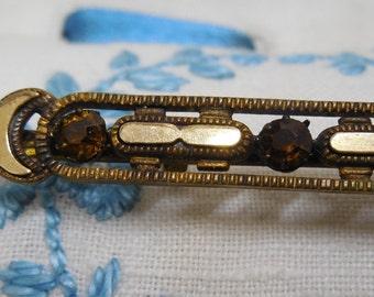 "Antique Victorian Amber Rhinestone Bar Pin Brooch 3.1/2"""